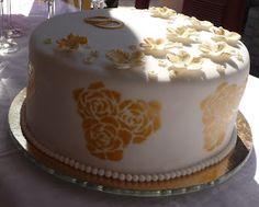 Torte zur Goldenen Hochzeit, Gold Anniversary Wedding Cake