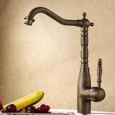 Single Handle Antique Brass Kitchen Sink Faucet Tap Home Plumbings A131 #Unbranded