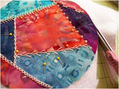 Art Threads: Wednesday Sewing - Crazy Quilt Potholders