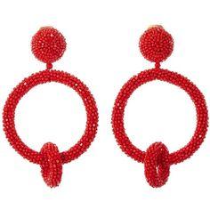 Oscar de la Renta Carmine Beaded Ring Earrings ($395) ❤ liked on Polyvore featuring jewelry, earrings, red earrings, red jewellery, earring jewelry, red clip on earrings and oscar de la renta jewelry