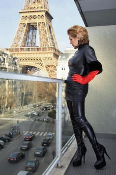 High-Heel Crotch Thigh Boots with platform black leather and very long red leather gloves - by Miceli - Made in Italy