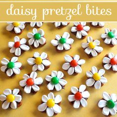 We made these fun and tasty Daisy Pretzel Bites using pretzels, Hershey Kisses, Marshmallows and M&M's. They are a perfect combination of sweet and salty.