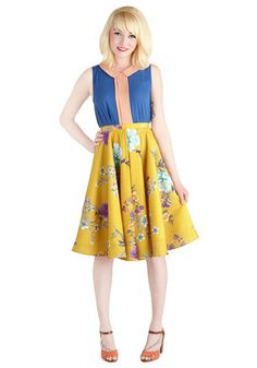 Ikebana for All Skirt in Floral. Shape, line, and form unfold fashionably as you drift past delicate flower displays in this lusciously smooth, mustard A-line skirt, available exclusively at ModCloth. #yellowNaN