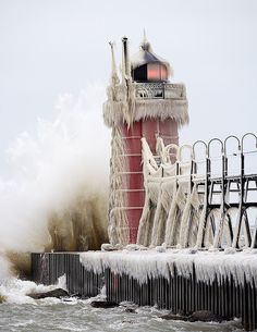 South Haven lighthouse  By Mike O'C. This is the lighthouse in the Michigan town where I grew up. Once, on a dare, I jumped off into the icy water....then walked home. How did we survive adolescents?