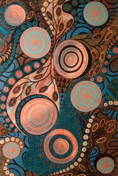 """""""Ancient Water Course"""" - Gloria Loughman -contemporary quilter, teacher and author"""
