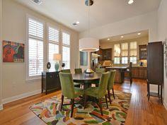Dining Room | Modern | Colorful | Elevated Ceilings | Open Layout | Wood Floors | Mueller Homes Austin Texas | Mueller Realtor | Mueller Development | 2033 McCloskey St, www.muellersilentmarket.com