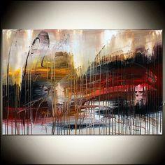 GRAN gran muralla rojo arte abstracto pintura en lienzo arte