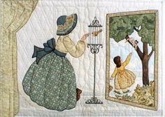 "#12 ""Daily Living Activities for the Bonnet Girls""  Yellow Bird Pattern $13.50.  Laurel comforts the bird in the embroidered  Victorian bird cage. The floor mirror reflects Erin outside trying to get the cat out of the tree. Appliqué curtains frame the scene."