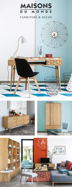 Get to know our KEOPS range and give your home the nordic makeover it deserves! Discover solid oak furniture with geometric details and pair them with metallic home decor in gold or copper