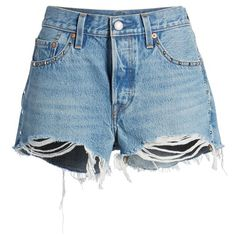 Women's Levi's 501 Distressed Cutoff Denim Shorts ($98) ❤ liked on Polyvore featuring shorts, destroyed shorts, cut-off shorts, levi shorts, jean shorts and denim jean shorts