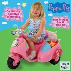 Peppa Pig 6V Ride On Bike with Side Car at Argos