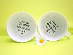 Wunderschöne, schlichte Tasse : auf dem Grund der Tasse steht die Frage : **Willst du mein Trauzeuge sein ?**  Die tasse für die zukünftige TRAUZEUGIN findest du natürlich auch in meinem...