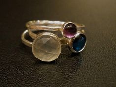 Stacking Ring Set Prehnite Blue Paua Shell by OddsAndEndsByKaley, $68.00