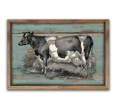 Wooden vintage style cow sign framed out in by DesignHouseDecor