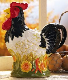 Country Farmhouse Rooster Decorative Teapot