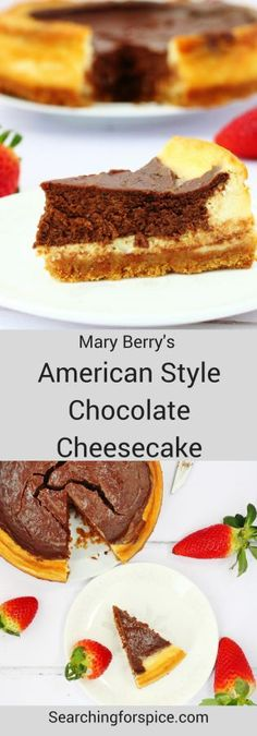 Mary Berry's American Style Chocolate Cheesecake. This delicious baked chocolate and vanilla cheesecake is rich and indulgent. It's the perfect dessert for a special meal or dinner party. #cheesecake #AmericanStyle #Bakedcheesecake #MaryBerry