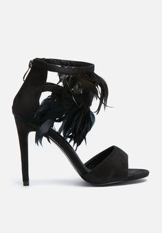 You'll be turning more than a few heads when you add these elegant heels to your footwear rotation. They're stacked on a traditional stiletto heel and multi strap construction. Features also include an eye-catching feather detail on the strap, as well as an open-toe design. Add a summer dress and a wide brim hat for a complete style.