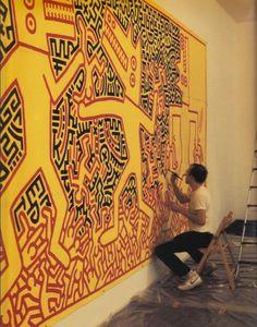 Modern artist-muralist Keith Haring (1958–1990) in his #workspace #meticulous