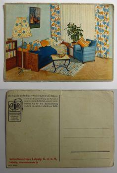 Neu in der Sammlung: Eine Postkarten vom Indanthren-Haus Leipzig... damit die Freude am farbenfrohen Wohnen von Dauer ist. /// Foto: Museum für Druckkunst Leipzig