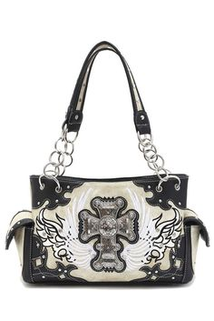 Western Cowgirl Angel Wing With Cross Accented Messenger Bag #GetEverythingElse #Satchel