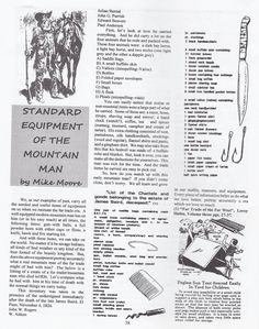 "Standard Equipment of the Mountain Man: Rockie Mountain Rendezvous and Black Powder Muzzleloader Rifle items always carried. List Copied from ""The Best of Backwoodsman"" Volume V, The Magazine for the 21st Frontiersman"