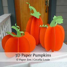 3D Paper Pumpkins - Free Patterns by Paper Zen / Cecelia Louie