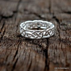 This beautiful sterling silver ring is decorated with an openwork design inspired by ancient Irish art. Similar interlace motifs are found on Early Christian illuminated manuscripts, as well as on the decorative metalwork of the period.