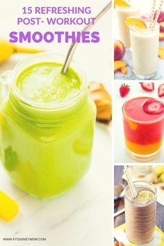 15 Refreshing Post-Workout Smoothie Recipes, that are easy to make, ready to blend after your workout and full of nutrients. How To Make Smoothies, Good Smoothies, Fruit Smoothies, Homemade Smoothies, Veggie Smoothie Recipes, Health Smoothie Recipes, Smoothie Diet, Drink Recipes, Planning Menu