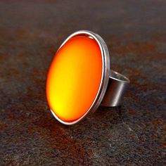 Statement Ring, Orange, Silver, Cocktail Ring, Rings for Women, Adjustable, Stone Ring, Statement Jewelry, Big Ring, Orange Ring, Oval Ring by Pilboxx on Etsy