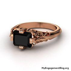 rose gold black diamond engagement ring - My Engagement Ring