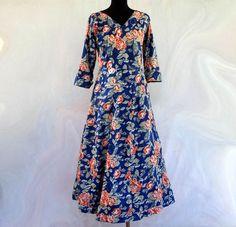 Maxi Dresses – Long cotton dress blue floral print – a unique product by akkacollection on DaWanda