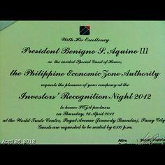フィリピンアキノ大統領に会える招待状… 行く? Invitation #party #pnoy #president #aquino #philippines