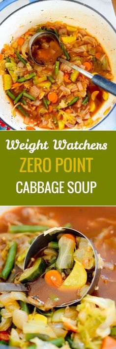 s Zero Point Cabbage Soup â? You can eat as much of this Weight Watchers cabbage soup as you like because itâ?s only 22 calories per serving! Plats Weight Watchers, Weight Watchers Soup, Weight Watcher Dinners, Weight Watchers Cabbage Soup Recipe, Weight Watcher Vegetable Soup, Weight Loss Soup, Ww Recipes, Vegetarian Recipes, Cooking Recipes
