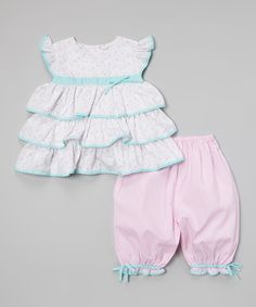 Another great find on #zulily! Pink & Aqua Ruffle Tunic & Bloomers - Infant & Toddler by Petit Ami #zulilyfinds