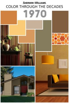 """We're celebrating our 150th Anniversary with a look back at color palettes through the years, including this groovy decade, the 1970s. As the """"Earth Movement"""" begins in earnest, earth tones dominate the era. Rusts, golds, browns and mustard yellows show up in fabrics, on walls and in appliances. Looking to add a '70s vibe to your pad? Try Amber Wave SW 6657, Bakelite Gold SW 6368, Jute Brown SW 6096 and Avocado SW 2861."""