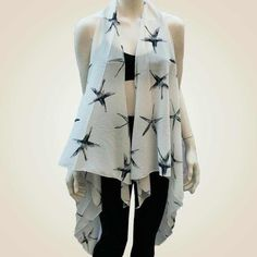 Starfish Scarf Vest Super lightweight scarf vest that drapes beautifully and has open front with a starfish pattern. NWOT. Other