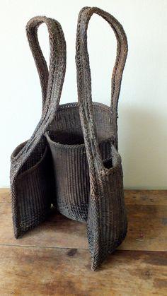 Vintage Ethnic wicker / Straw bag Backpack, Thailand