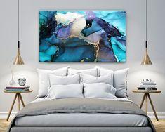 Canvas Artwork, Canvas Wall Art, Painting Canvas, Wooden Painting, Art Blue, Dark Blue Walls, Gold Home Decor, Coastal Bedrooms, Extra Large Wall Art