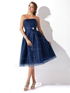 Forme Princesse Sans bretelle Mi-longues Organza Robe de demoiselle d'honneur avec Plissé Broche en cristal (007001812)