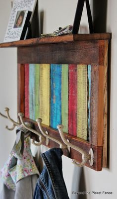 Colorful, Rustic Coat Hook & Shelf