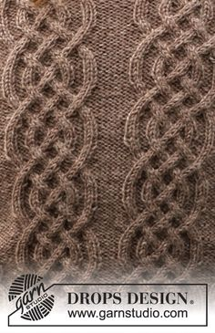 Crochet Textured Wave Stitch Free PatternElementary Wrap, free pattern for simple rectangular shawl. Knitted Coat Pattern, Fair Isle Knitting Patterns, Crochet Cardigan Pattern, Knitting Designs, Diy Crochet And Knitting, Knitting Stiches, Lace Knitting, Drops Design, Drops Patterns
