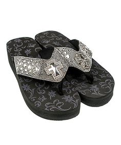 a80ba4cbc8ee1c Rope   Spurs Black Crystal-Embellished Cross Sandal