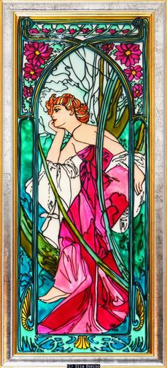 """Olia Bseiso - Evening This hand painted glass piece depicts Alphonse Mucha's """"Le Soir"""". Art Nouveau."""