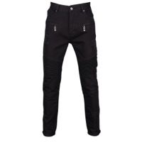 Civil Clothing Dean Denim Thrashed Biker Ribbed Jeans - Men's - All Black / Black