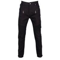 Civil Clothing Dean Denim Thrashed Biker Ribbed Jeans - Men's - All Black / Black