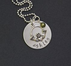 Claddagh Necklace - Irish Jewelry -  Hand Stamped Sterling Silver  Personalized Necklace