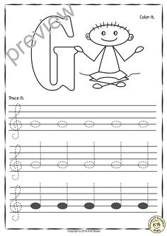 Tracing Music Notes Worksheets for kids Treble Clef A set of 26 Music worksheets have been created to help your students learn to trace, copy, color and draw notes on the staff {Treble Pitch} {C first – A Second' octaves}. Music Lessons For Kids, Music For Kids, Piano Lessons, Music Theory Worksheets, Kids Notes, Piano Teaching, Learning Piano, Treble Clef, Elementary Music