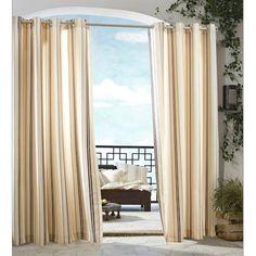 Khaki Gazebo Stripe Grommet Top Indoor Outdoor Curtain Panel