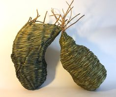 Catriona Pollard - Sisters www.theartofweaving.com.au 'Sisters' symbolises the loving balance between nature and humanity, giving and receiving, technology and analogue, science and spirituality. #contemporarydesign #weaving #basketry #love #sculpture #art #interiordesign #contemporaryart #handmade #handwoven #foundobjects #foundobjectsculpture #fibreart #fiberart #artist #basketryartist #australianbasketry #fibreartist #basketart #woven #catrionapollard