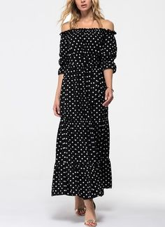 Cotton Polka Dot Half Sleeve Maxi Elegant Dresses
